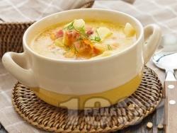 Картофена супа с пилешки бульон, бекон и копър - снимка на рецептата